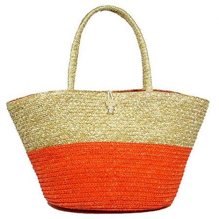 Straw Tote: Woven Wheat Straw Tote - 2 Tones - Orange - BG-R11053OG